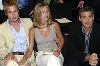 Брэд Питт, Дженнифер Энистон и Джордж Клуни в 2001 году