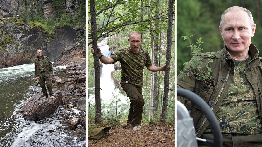 Image result for Путин в компании Шойгу прогулялся по сибирской тайге