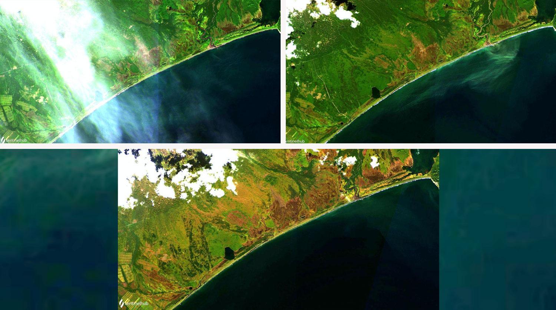Снимки со спутника в хронологии- 1, 9, 24 сентября