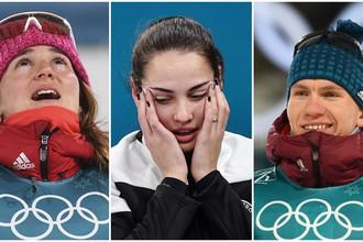 Бронзовые медалисты Олимпиады в Пхенчхане Юлия Белорукова, Анастасия Брызгалова, Александр Большунов (слева направо)
