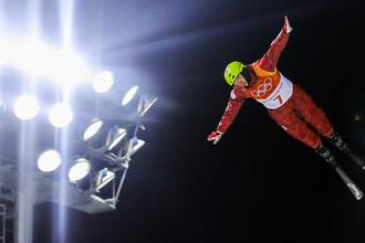 Илья Буров (Россия) в финале лыжной акробатики на соревнованиях по фристайлу среди мужчин на XXIII зимних Олимпийских играх в Пхенчхане