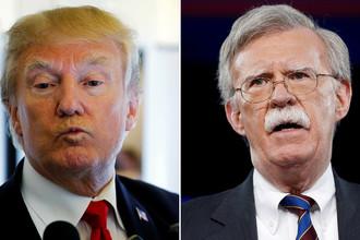 Президент США Дональд Трамп и новый советник по национальной безопасности Джон Болтон (коллаж)