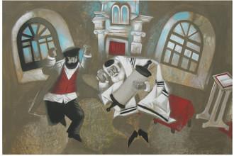 «Евреи танцуют в синагоге в честь праздника Торы», Елена Иванова (Котляр)