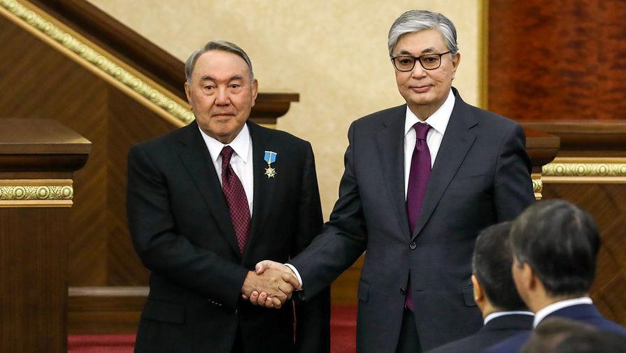 Бывший президент Казахстана Нурсултан Назарбаев и президент Казахстана Касым-Жомарт Токаев