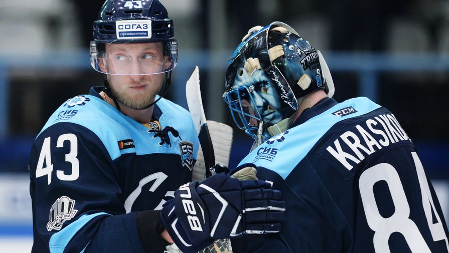 Игрок «Сибири» Максим Игнатович (слева) и вратарь Алексей Красиков в матче КХЛ