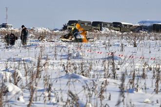 Сотрудники МЧС России в Раменском районе Московской области, где самолет Ан-148 «Саратовских авиалиний» рейса 703 Москва-Орск потерпел крушение 11 февраля 2018 года