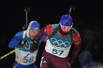 Российский биатлонист Антон Бабиков на Олимпиаде в Пхенчхане