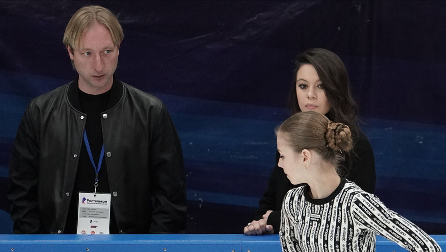 Евгений Плющенко и Александра Трусова на открытых прокатах сборной России