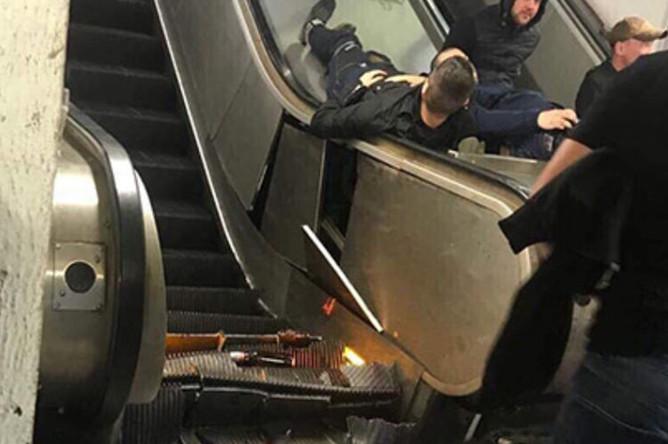 Последствия обрушения эскалатора в Риме, при котором пострадали российские болельщики, 23 октября 2018 года