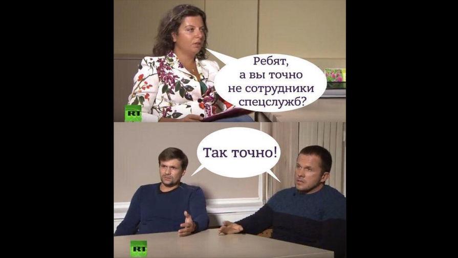 Петров и Боширов во время интервью на телеканале RT