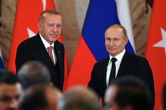Президент России Владимир Путин и президент Турции Реджеп Тайип Эрдоган после пресс-конференции по итогам российско-турецких переговоров, 8 апреля 2019 года