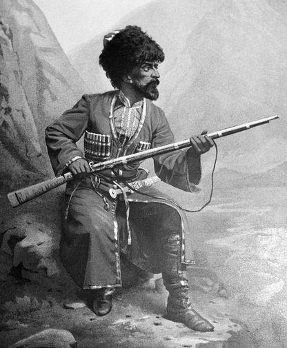 Репродукция литографии, изображающий чеченца с ружьем во время Кавказской войны 1840-50 годов