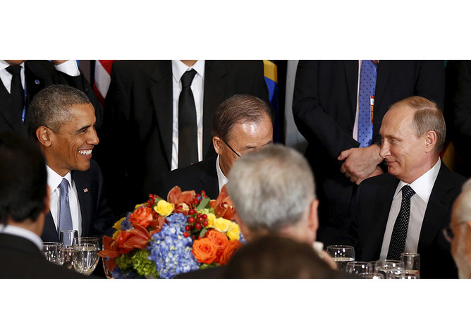 Президент США Барак Обама, генсек ООН Пан Ги Мун и президент России Владимир Путин