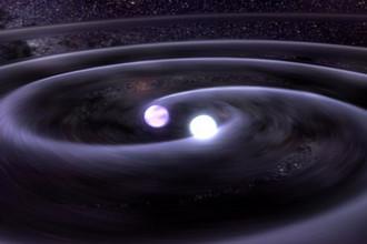 Источником гравитационных волн является, например, коллапсирующая система черных дыр или белых карликов, вращающихся вокруг общего центра масс