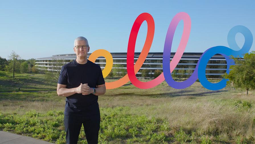 Глава Apple Тим Кук во время весенней презентации компании, 20 апреля 2021 года