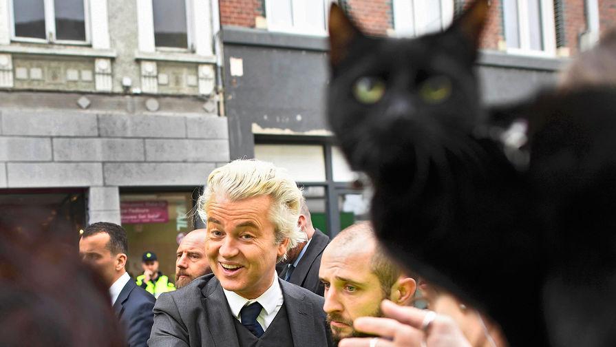 Нидерландский политик Герт Вилдерс с кошкой во время мероприятия кампании в Херлене, 11 марта 2017...