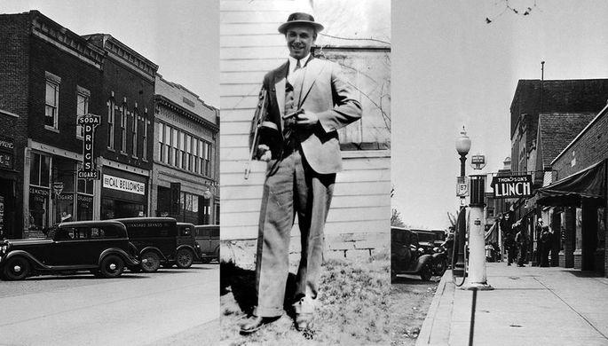 Джон Диллинджер и улица города Мурсвилл в штате Индиана, где он провел детство, 1934 год, коллаж «Газеты.Ru»