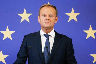 Председатель Евросовета Дональд Туск во время пресс-конференции на саммите ЕС-Украина в Киеве, 8 июля 2019 года