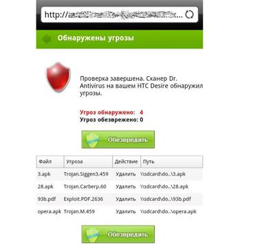 Далее мошеннический сайт предлагает вам «обезвредить» угрозу и загружает на смартфон троян для отправки платных SMS.