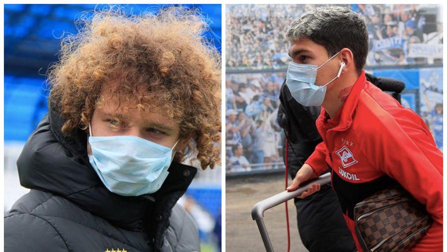 Игроки «Спартака» Айртон и Алекс Крал в масках от коронавируса