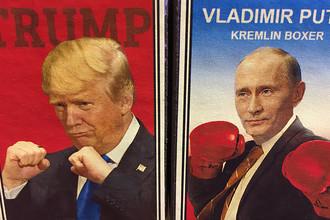 Изображение Дональда Трампа и Владимира Путина на спичечных коробках в сувенирном магазине в Таллине, Эстония