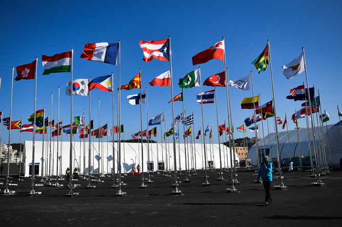 Флаги стран-участниц в Олимпийской деревне