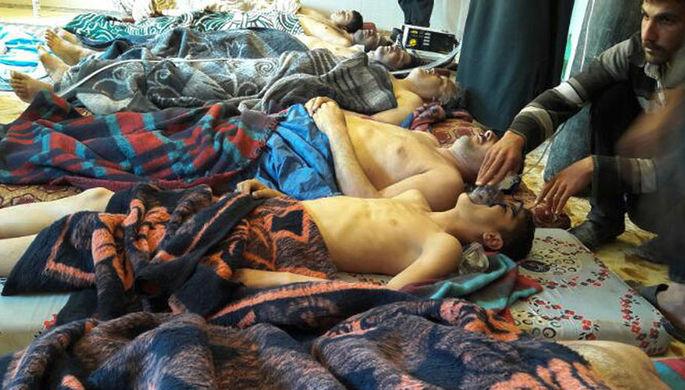 Пострадавшие предположительно от химической атаки в провинции Идлиб, Сирия, 4 апреля 2017 года