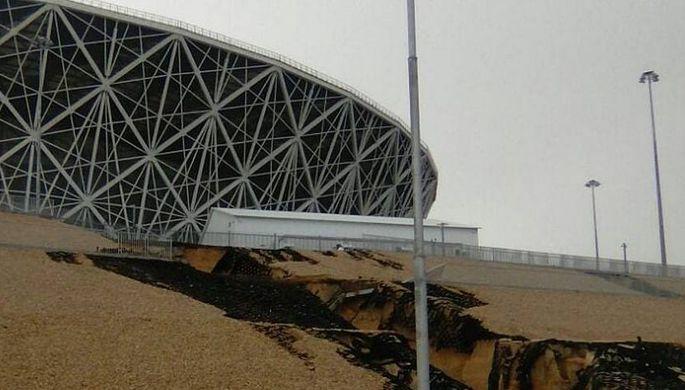 Территория у «Волгоград Арены» сильно пострадала из-за линя