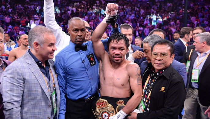 Филиппинский боксер Мэнни Пакьяо после боя с Китом Турманом