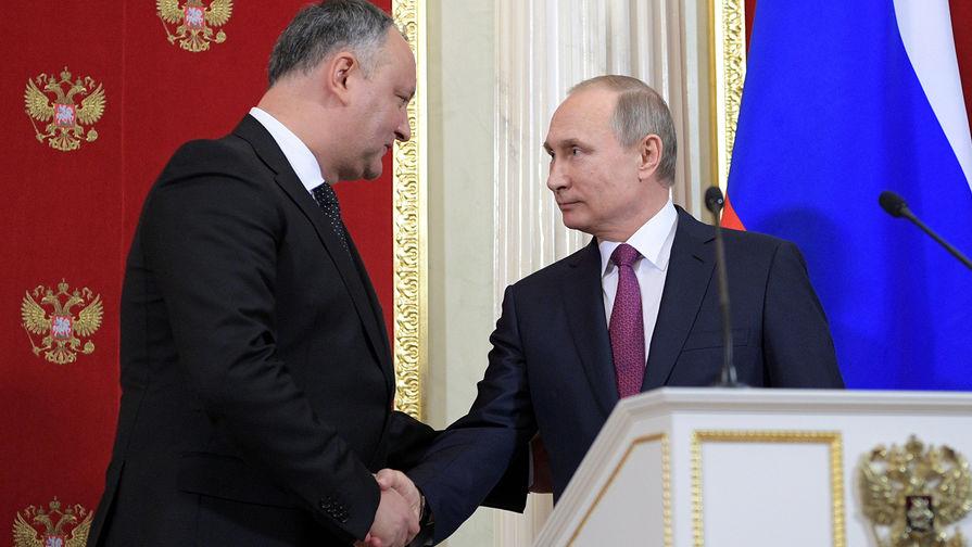 Президент Молдавии Игорь Додон и президент России Владимир Путин во время встречи в Кремле, январь 2017 года