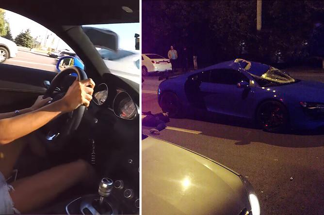 Девушка за рулем синей Audi R8 из видеозаписи с дрифтом в центре Ростова-на-Дону на YouTube и последствия аварии на синей Audi R8 в Ростове-на-Дону, 11 октября 2017 года, коллаж