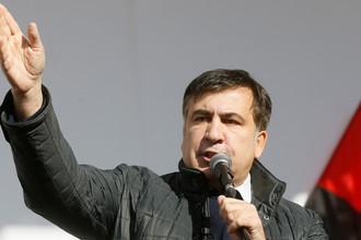 Выступление бывшего губернатора Одесской области Украины Михаила Саакашвили на митинге перед зданием Верховной рады в Киеве, 22 октября 2017 года