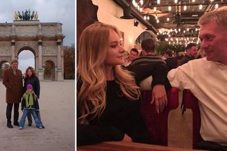 Лиза Пескова с семьей в Париже в 2003 году и современный снимок с отцом Дмитрием, коллаж