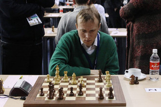 Шахматист Руслан Пономарев во время Всемирной шахматной Олимпиады в Ханты-Мансийске, 2010 год