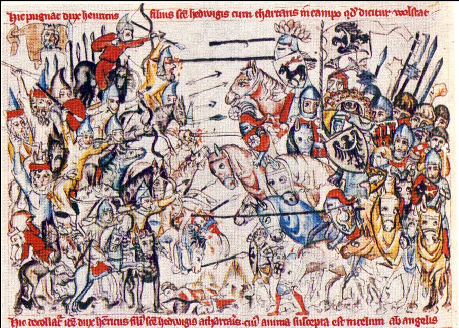 Битва при Легнице, 1241 г. Миниатюра XIV в.