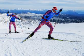 Александр Легков на предсезонной тренировке национальной сборной России по лыжному спорту в австрийском Рамзау
