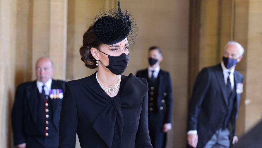 Кейт Миддлтон во время похорон герцога Эдинбургского Филиппа, 17 апреля 2021 года