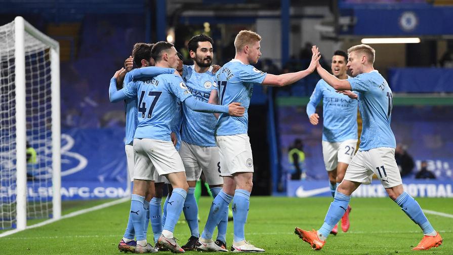 «Манчестер Сити» празднует гол в ворота «Челси»