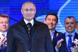 Президент России Владимир Путин на концерте в Симферополе по случаю пятилетия воссоединения Крыма с Россией, 18 марта 2019 года