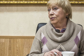 Историк, соведущая «Эхо Москвы» Наталия Басовская в редакции радиостанции «Эхо Москвы» на Новом Арбате, 2014 год