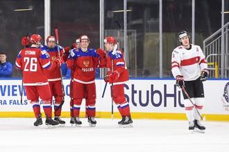 Эпизод матча МЧМ-2018 между сборными России и Швейцарии