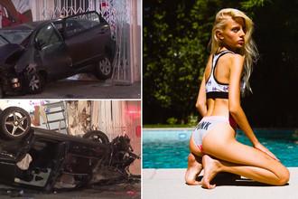 Последствия ДТП в котором пострадала украинская модель Лиза Кузьменко