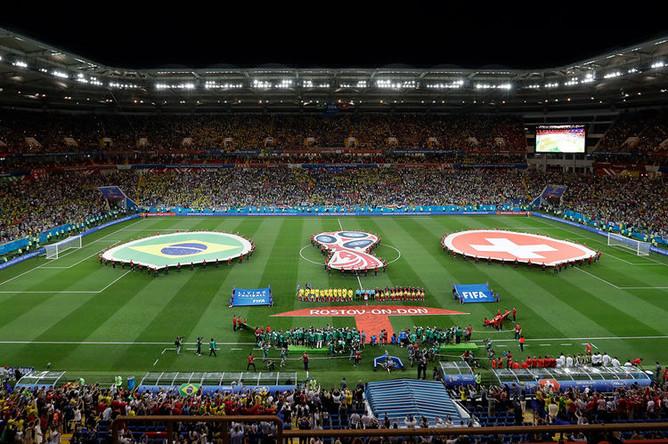 Открытие матча группового этапа между сборными Швейцарии и Бразилии на стадионе «Ростов Арена», 17 июня 2018 года