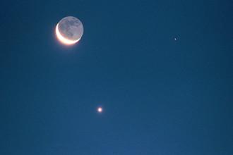 Марс, Венера и Луна на ночном небе