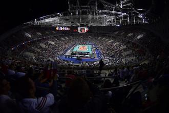 Вид с трибун «Арены Краков» во время финального матча между сборными России и Германии