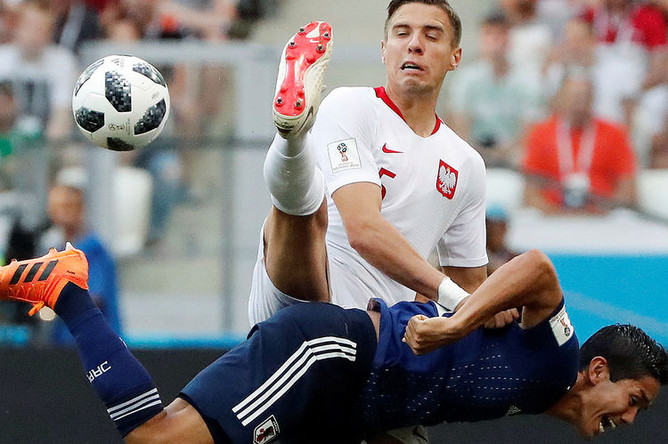 Во время матча группового этапа чемпионата мира по футболу между сборными Японии и Польши в Волгограде, 28 июня 2018 года