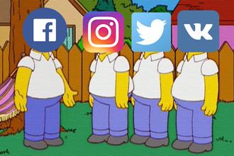Кадр из мультсериала «Симпсоны» и логотипы социальных сетей, коллаж «Газеты.Ru»