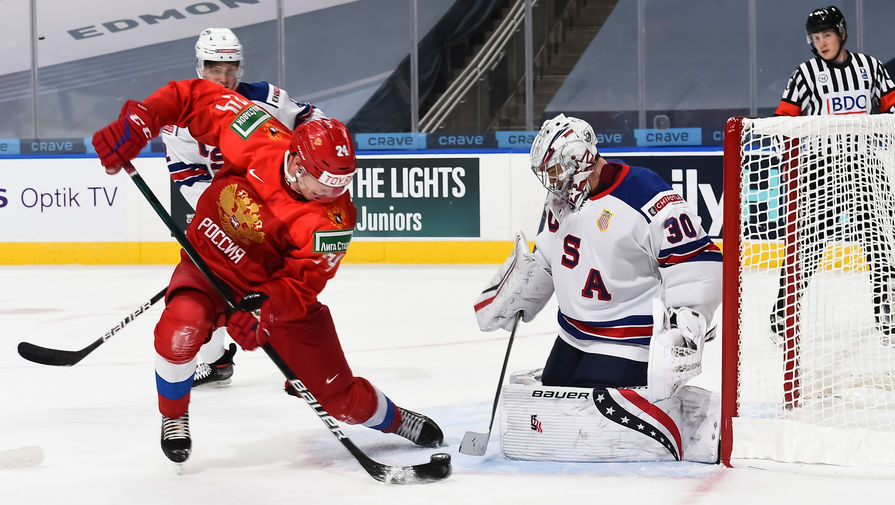 эпизод матча Россия- США на молодежном чемпионате мира по хоккею