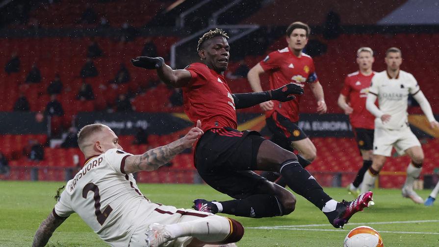Поль Погба в матче «Манчестер Юнайтед» — «Рома»