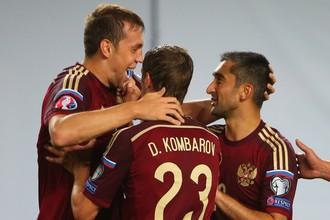 Российские футболисты в первом матче против Лихтенштейна